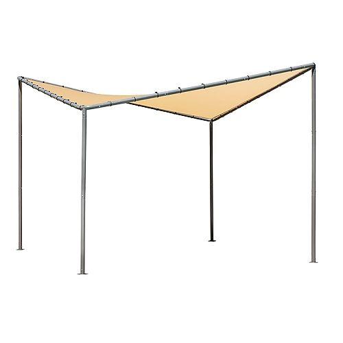 10x10 Del Ray Gazebo Canopy Charcoal Frame Tan Cover