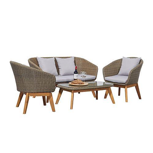 Vifah Grayton Light Grey 4-piece Rustic All-Weather Patio Wood and Wicker Conversation Set