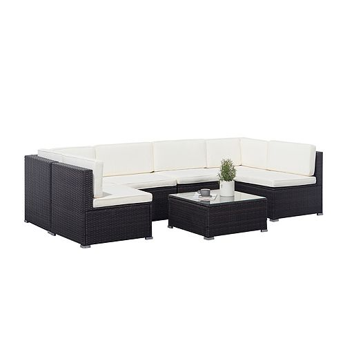 Venice Black 6-piece Classic Outdoor Wicker Sectional Sofa with White Seat and Back Cushion