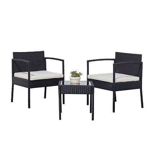 Tierra Black 3-Piece Classic Outdoor Wicker Coffee Lounger Set White Cushion
