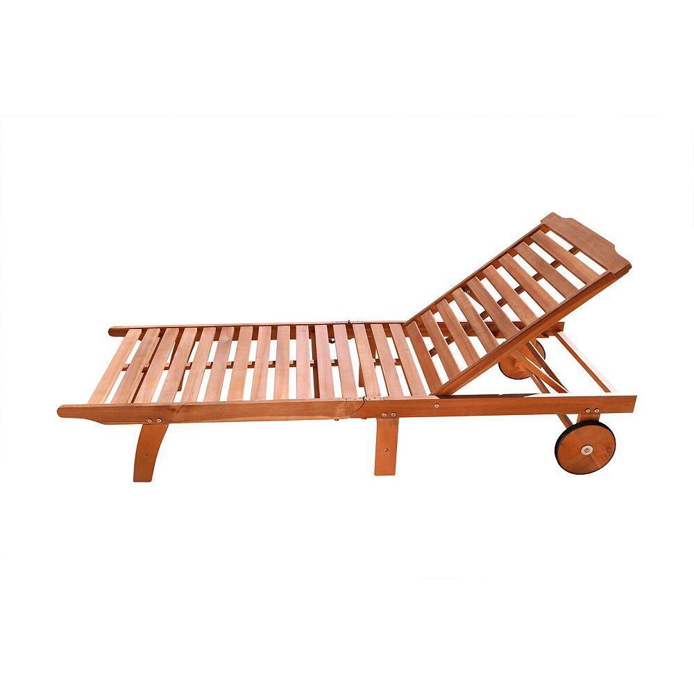 Vifah Malibu Brown Motion Patio Sunbathing Chaise Lounger The Home Depot Canada