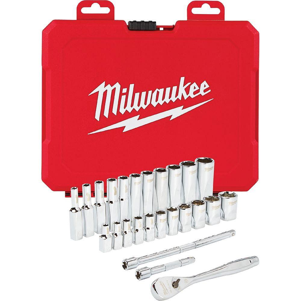 Milwaukee Tool 1/4 -inch Drive SAE Ratchet and Socket Mechanics Tool Set (26-Piece)