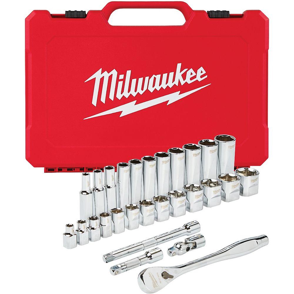 Milwaukee Tool 3/8 -inch Drive SAE Ratchet and Socket Mechanics Tool Set (28-Piece)