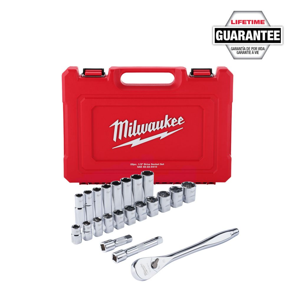 1/2 -inch Drive SAE Ratchet and Socket Mechanics Tool Set (22-Piece)