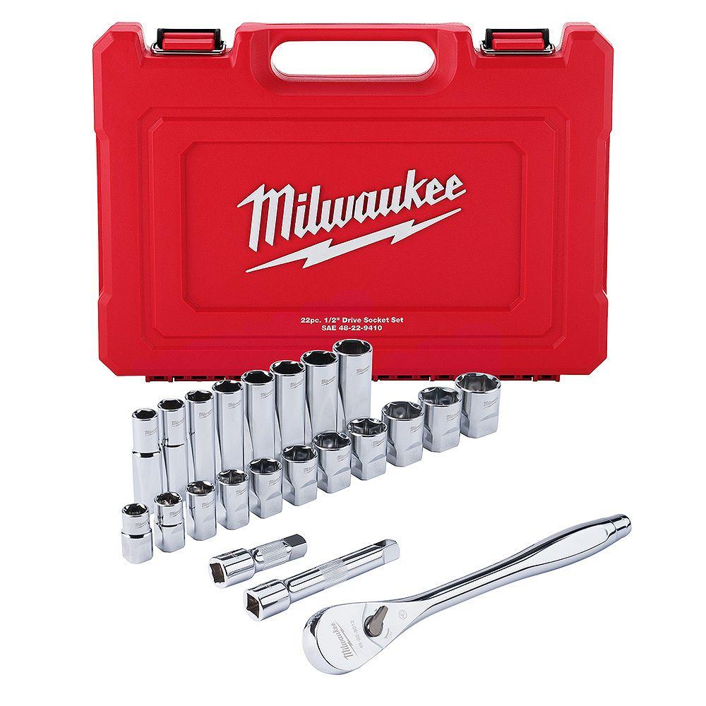 Milwaukee Tool 1/2 -inch Drive SAE Ratchet and Socket Mechanics Tool Set (22-Piece)
