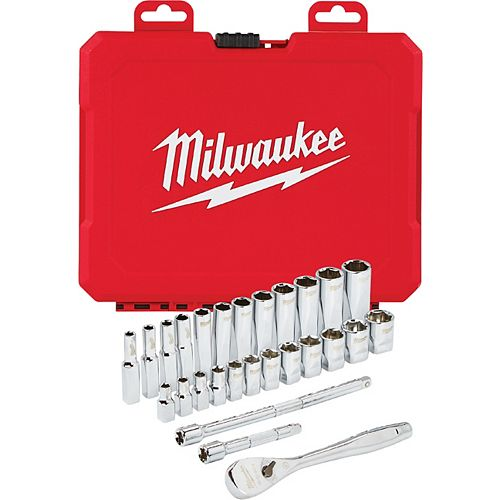 1/4 -inch Drive Metric Ratchet and Socket Mechanics Tool Set (28-Piece)