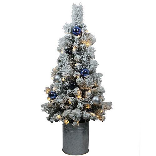 4 ft. 50-Light Warm White LED Pre-Lit Potted Christmas Tree