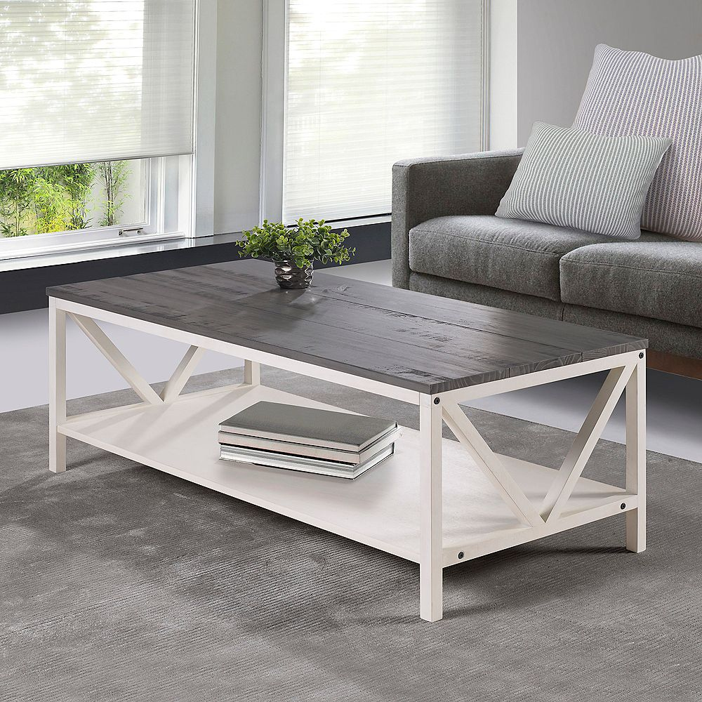 Welwick Designs Distressed Rustic Modern Farmhouse Coffee Table Grey White Wash The Home Depot Canada