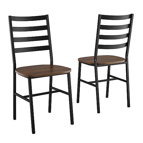 Welwick Designs Modern Farmhouse Slat Back Dining Chair, set of 2 - Dark Walnut