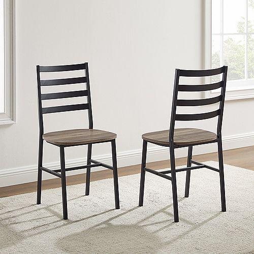 Chaises de salle à manger en métal et bois avec dossier à lattes, ensemble de 2 - Gris délavé