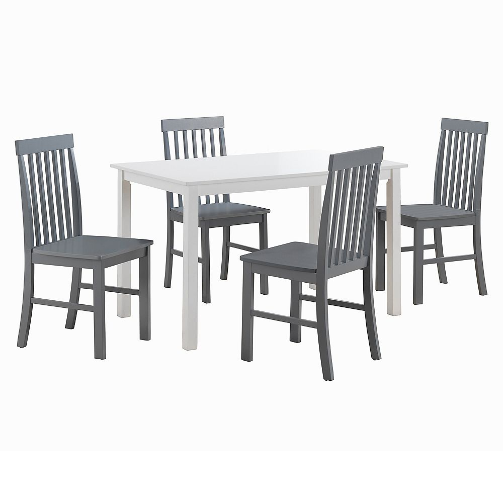 9 Person Modern Dining Table and Chair Set   White/Grey