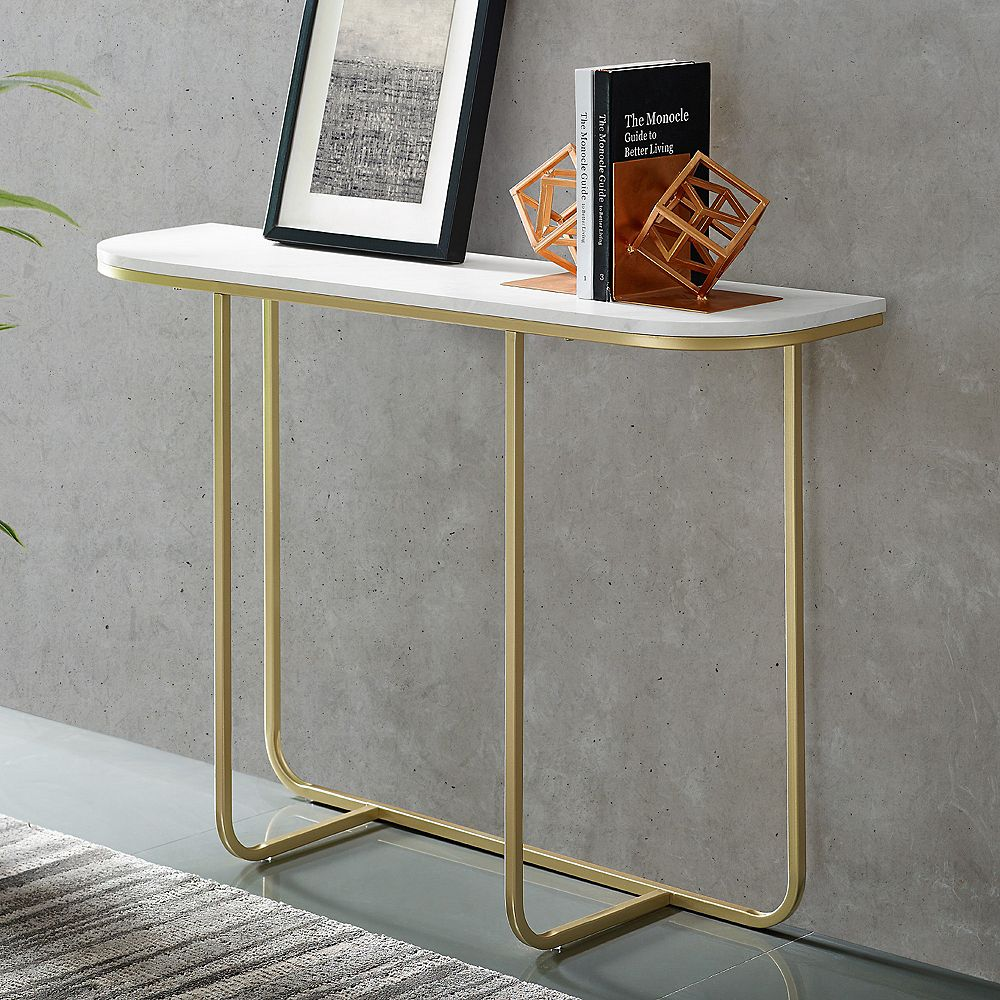 Welwick Designs Modern Curved Entry and Sofa Table - White Faux Marble/Gold