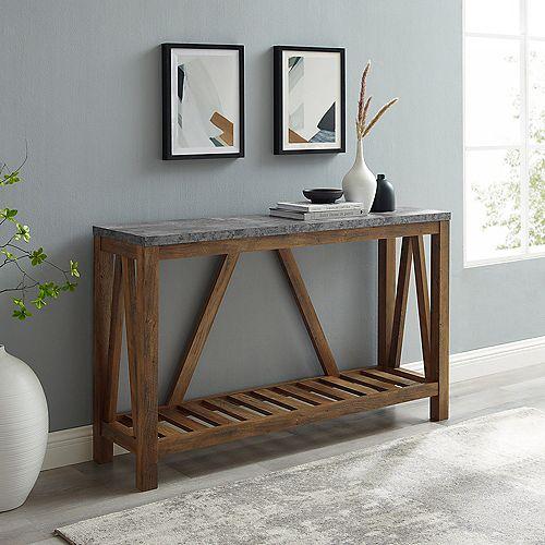 Welwick Designs Table d'entrée moderne de style campagnard de 132,08 cm (52 po) - Béton foncé