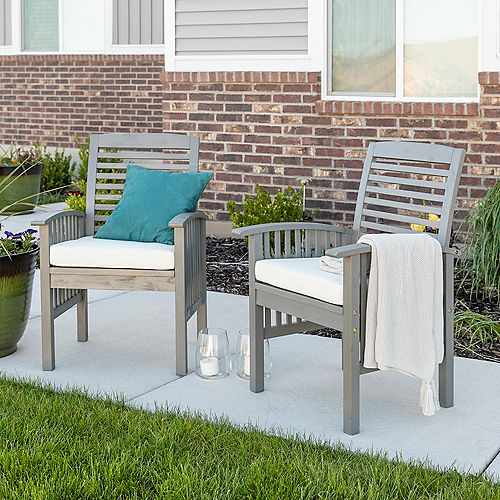 Chevron Grey Wash Removable Cushions Acacia Wood Patio Dining Chairs with Beige Cushions (Set of 2)