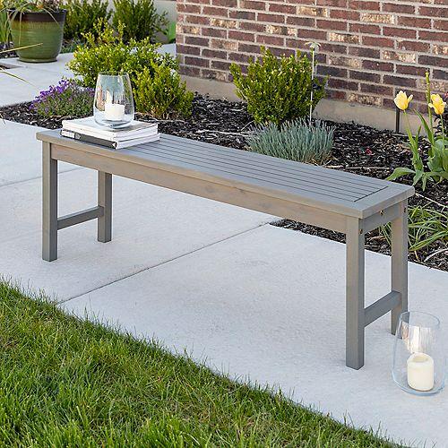 Banc de table de salle à manger pour patio en bois d'acacia - Gris cérusé
