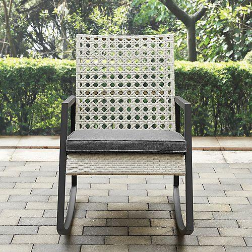 Oversized Modern Patio Rattan Rocking Chair - Light Grey/Grey