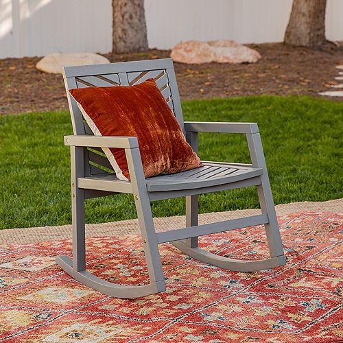 Chevron Wood Outdoor Patio Rocking Chair - Grey Wash