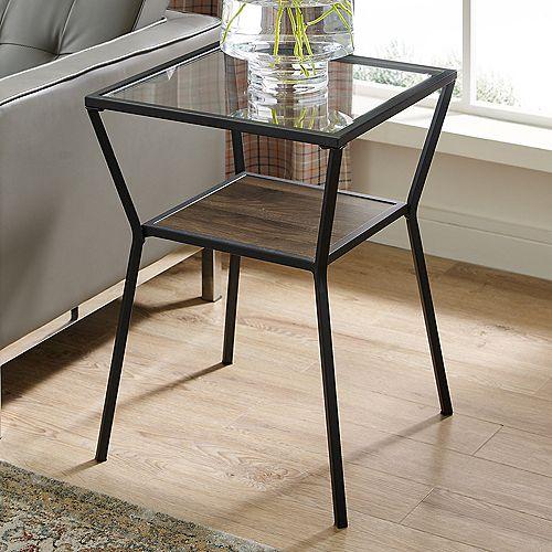 Welwick Designs Modern Angled Side Table with Open Shelf - Dark Walnut