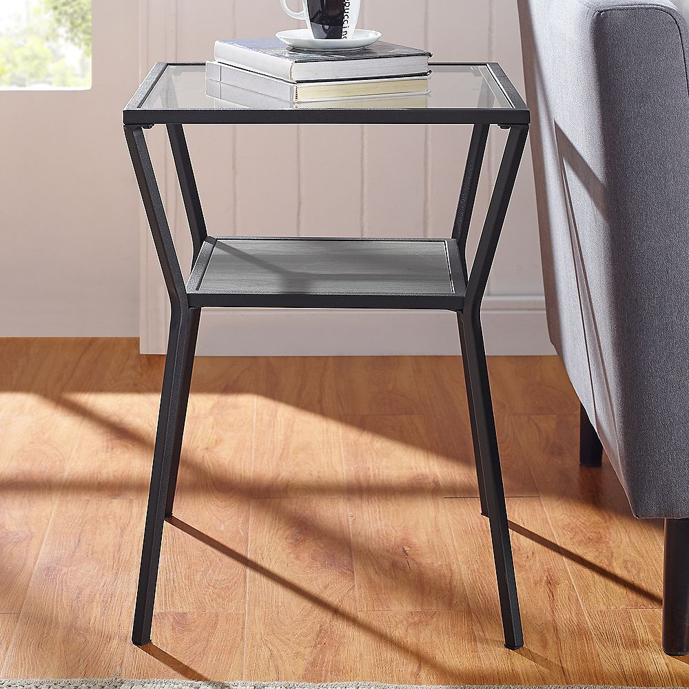 Welwick Designs Modern Angled Side Table with Open Shelf - Slate Grey