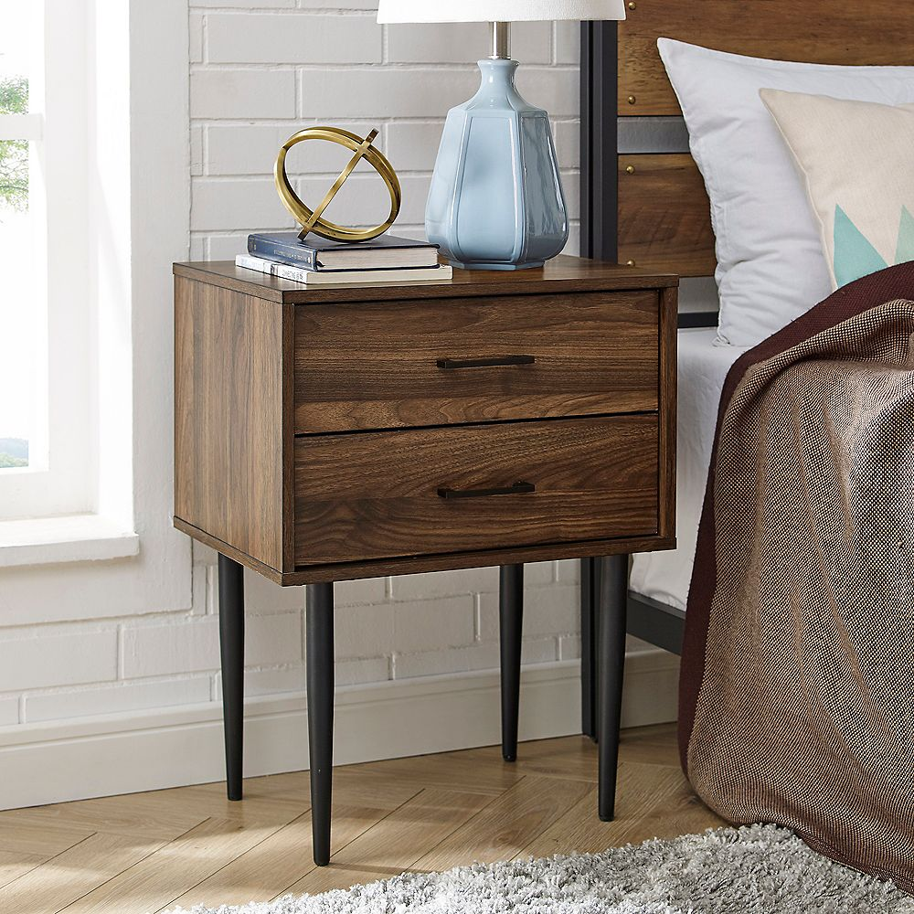 Welwick Designs Modern 2 Drawer Nightstand and Side Table with Storage - Dark Walnut