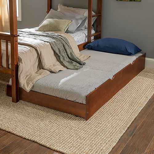 Solid Wood Twin Trundle Bed Frame with Wheels - Walnut