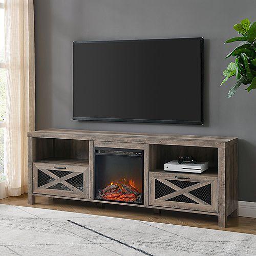 Meuble de télévision style campagnard rustique avec foyer de 177,8 cm (70 po) - Gris délavé