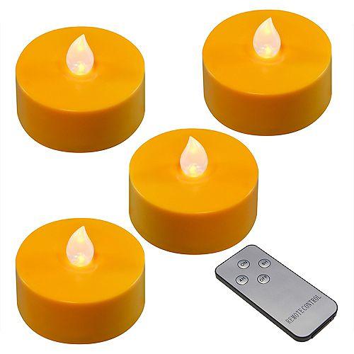 Bougies orange très larges à piles