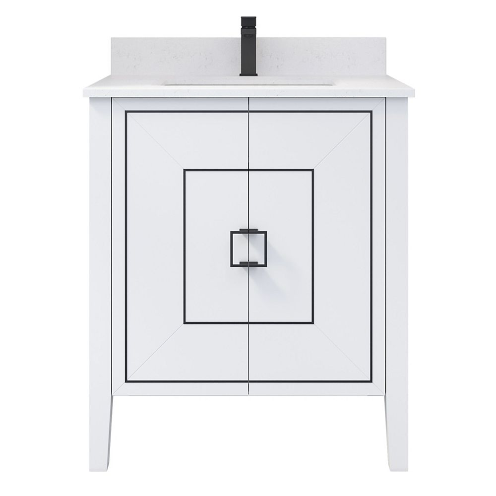 Art Bathe Harper 30 inch W x 22 inch D Vanity in White with Engineered Stone Top in White and Rectangular Basin