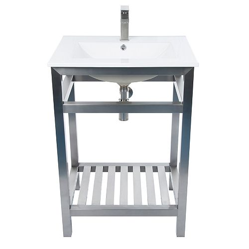 Maddox 24 inch W x 19 inch D Vanity in Silver with Ceramic Top in White and Rectangular Basin