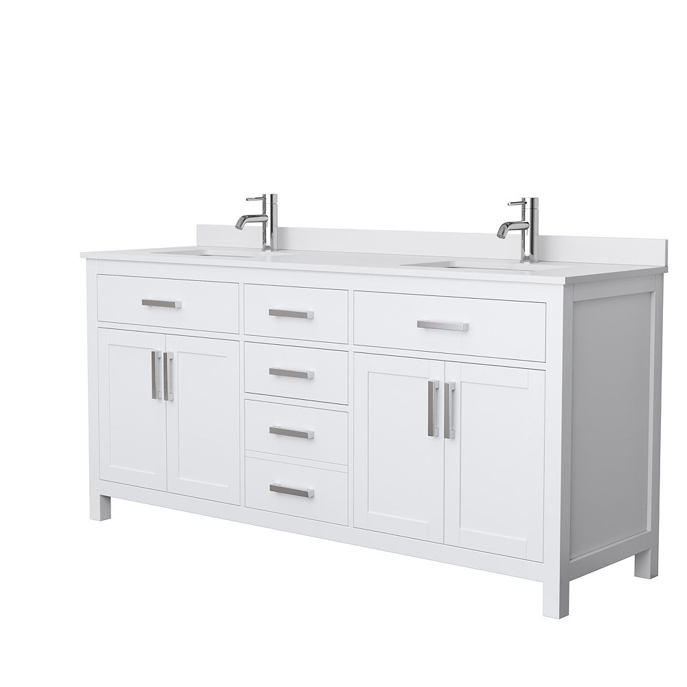Beckett 20 inch Double Vanity in White, White Cultured Marble Top, Square  Sinks, No Mirror