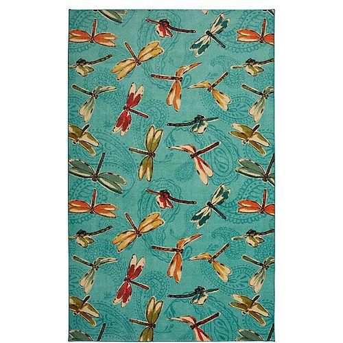 Summer Dragonflies Aqua 5 ft. x 8 ft. Indoor Area Rug