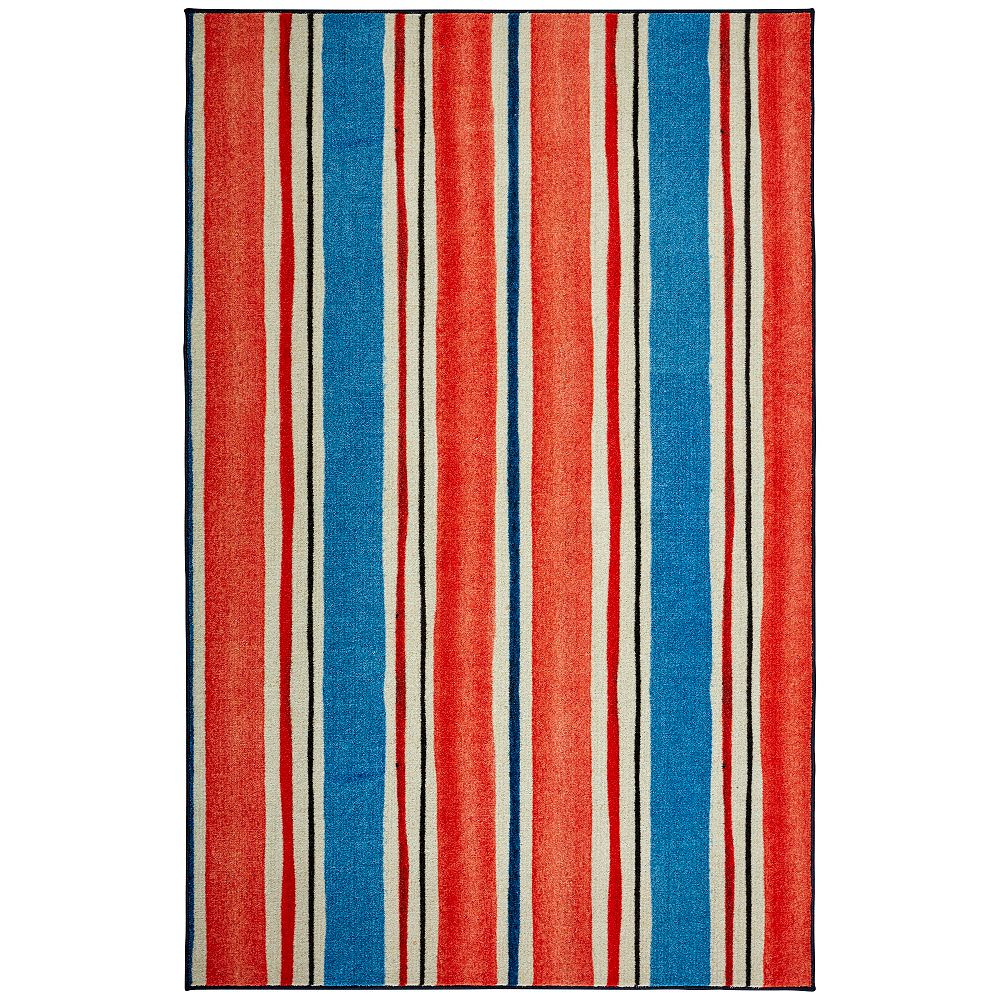 Mohawk Home Coastal Stripe Red 5 Ft X 8 Ft Indoor Area Rug The Home Depot Canada