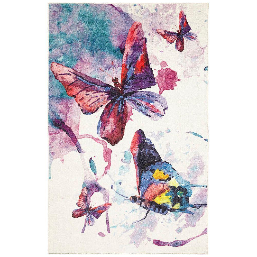 Mohawk Home Watercolor Butterflies Purple 5 Ft X 8 Ft Indoor Area Rug The Home Depot Canada