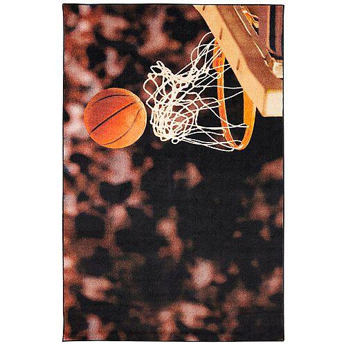 Basketball Hoop Multi 3 ft. 4-inch x 5 ft. Indoor Area Rug