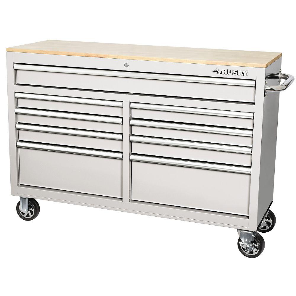 Husky 52 inch 9-Drawer Mobile Work Bench - White