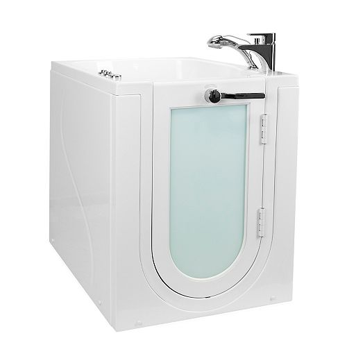Ella Front Entry 3 ft. 4-inch Alcove Right Drain Whirlpool and Air Walk-in Bathtub in White, Faucet Set