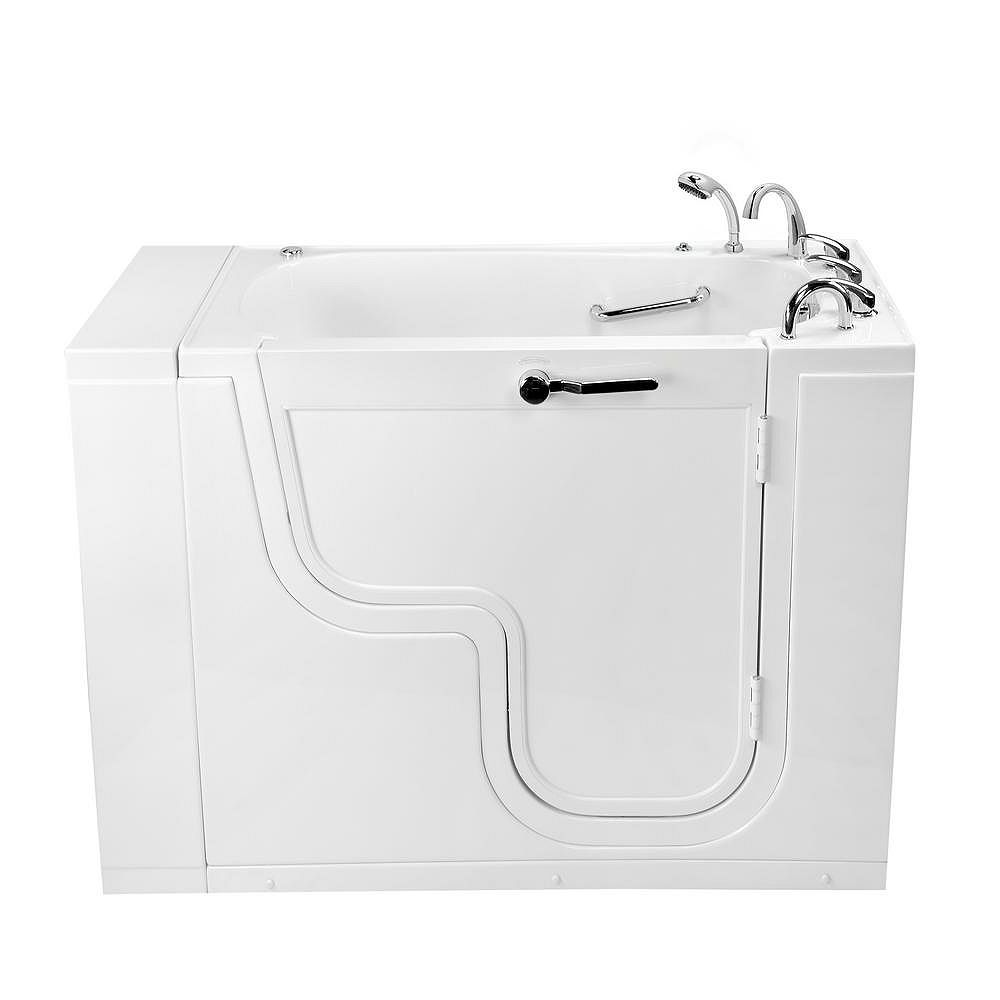 Ella Transfer26 4 ft. 4-inch Alcove Right Drain Whirlpool and Air Walk-in Bathtub in White, Faucet
