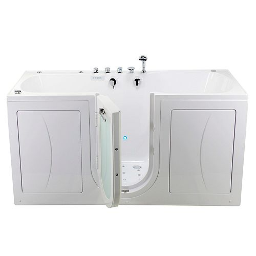 Ella Big4Two 5 ft. Alcove Centre Drain Whirlpool and Air Walk-in Bathtub in White, Fast Fill Faucet