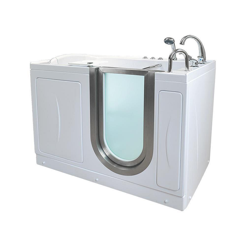 Ella Elite 4 ft. 4-inch Alcove Right Drain Whirlpool and Air Walk-in Bathtub in White, Fast Fill Faucet