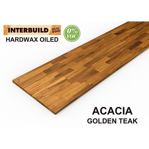 INTERBUILD Revêtement de comptoir de cuisine, 72 po x 25,5 po x 1 po, bois d'acacia, teck doré