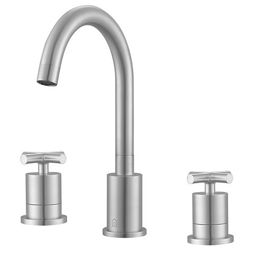 Ava 8-inch Widespread Cross 2-Handle Bathroom Faucet in Brushed Nickel Finish