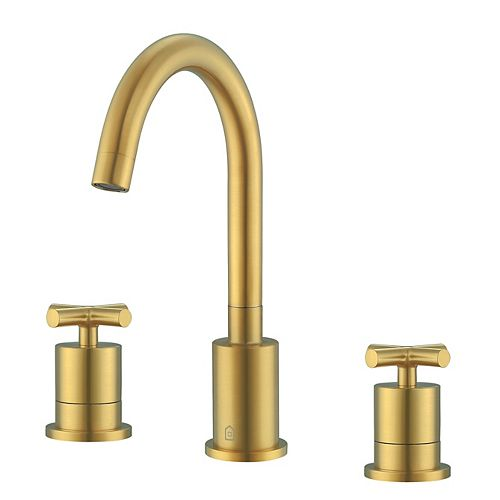 Ancona Ava 8-inch Widespread Cross 2-Handle Bathroom Faucet in Titanium Gold Finish