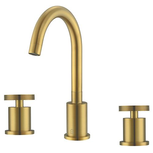 Nova 8-inch Widespread 2-Handle High Arc Spout Bathroom Faucet in Brushed Titanium Gold