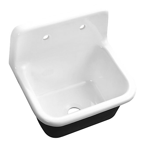 Cast Iron 22-inch R-5720-26CISWH-1 Wall-Mount Kitchen Sink