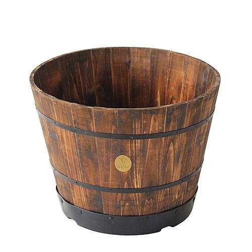 """VegTrug Wooden Barrel Planter - 21"""" - 2 PACK"""