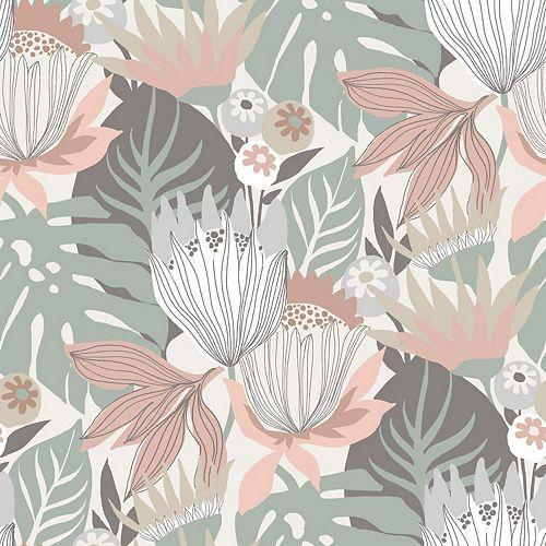 Retro Tropical Leaves Peel & Stick Wallpaper