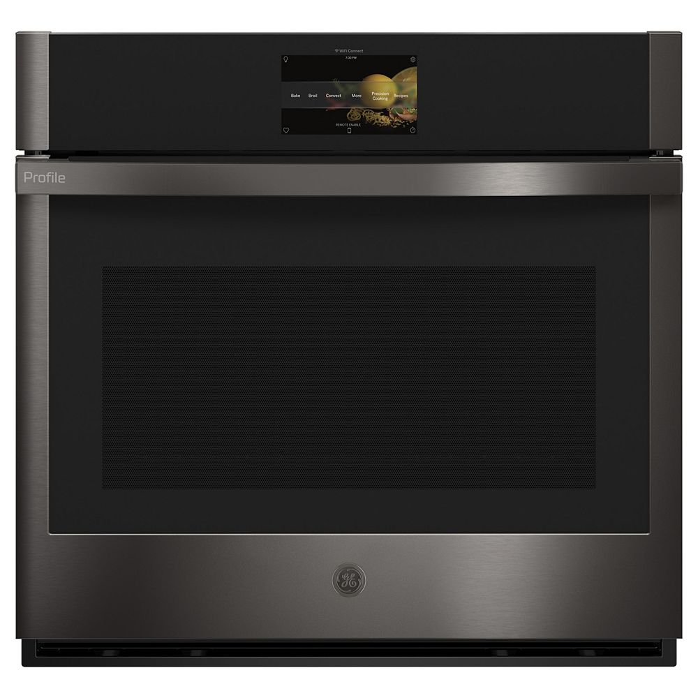 GE Profile 30-inch Wall Oven. True European Convection with Direct Air and Hot-Air Fry in Black Stainless Steel