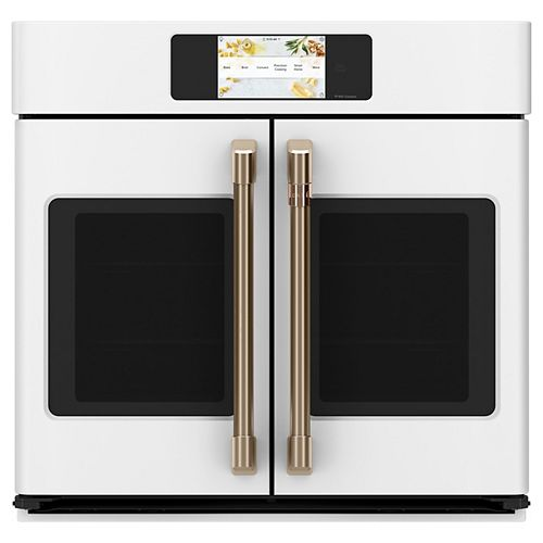 Café 30-inch Professional French-Door Convection Single Wall Oven with Hot-Air Fry in Matte White