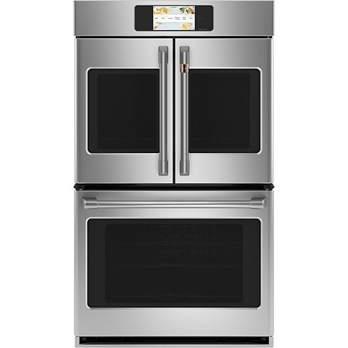 Café 30 in. Smart Double Electric French-Door Wall Oven with Convection Self Cleaning in Stainless Steel