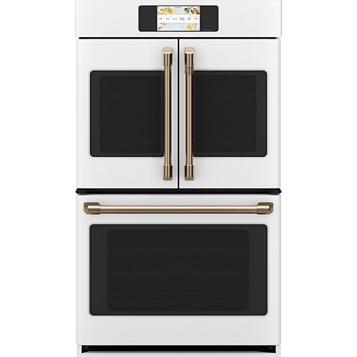 Café 30 in. Smart Double Electric French-Door Wall Oven with Convection Self Cleaning in Matte White, Fingerprint Resistant